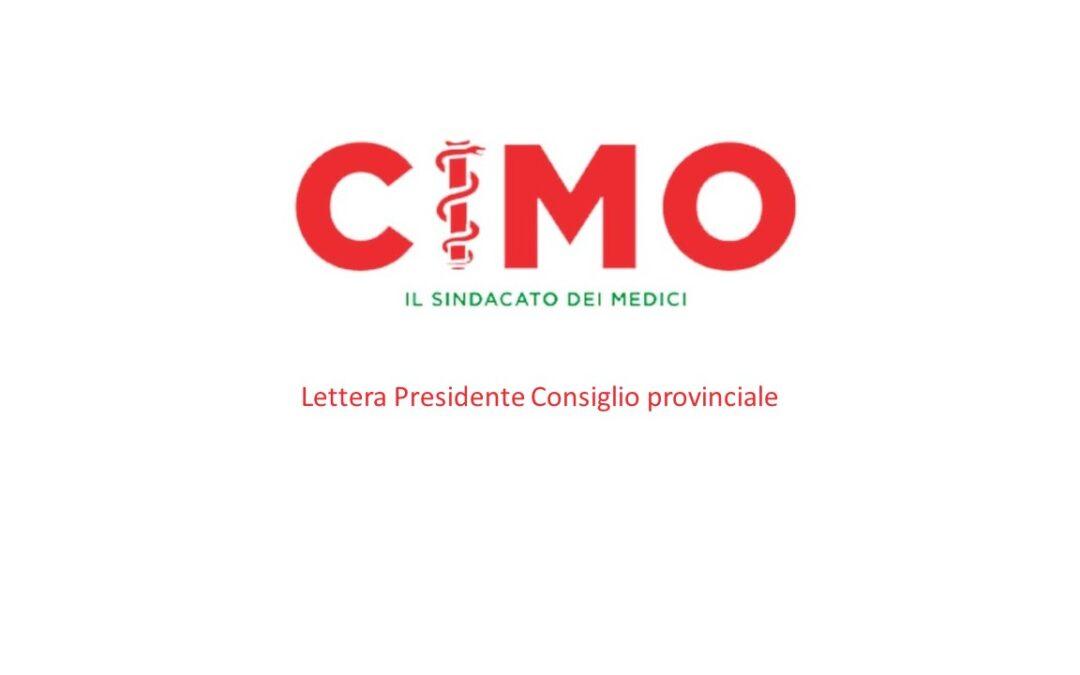 Lettera al Presidente Consiglio provinciale