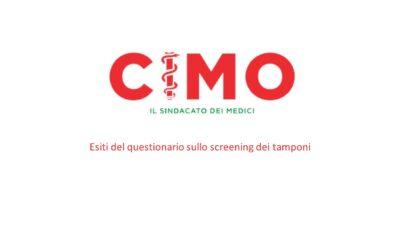 Esiti del questionario sullo screening dei tamponi