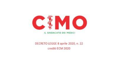 DECRETO-LEGGE: crediti ECM 2020 già maturati dai medici che hanno svolto attività professionale durante l'emergenza COVID-19